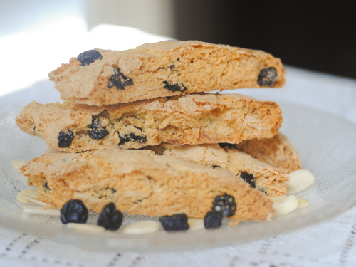 Light n' crispy lemon biscotti with silvered almonds and dried blueberries
