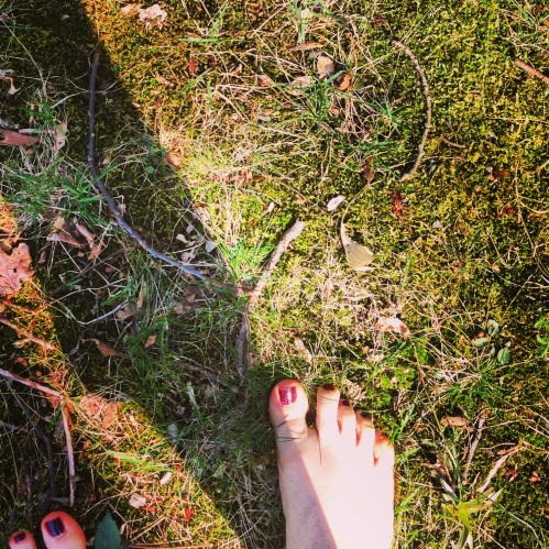 Walking barefoot in the quiet of a Spring day.
