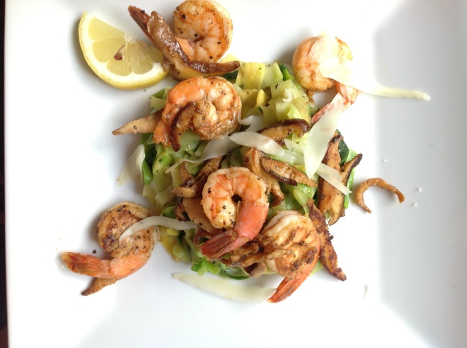Black Pepper Shrimp and Zucchini Fettuccine