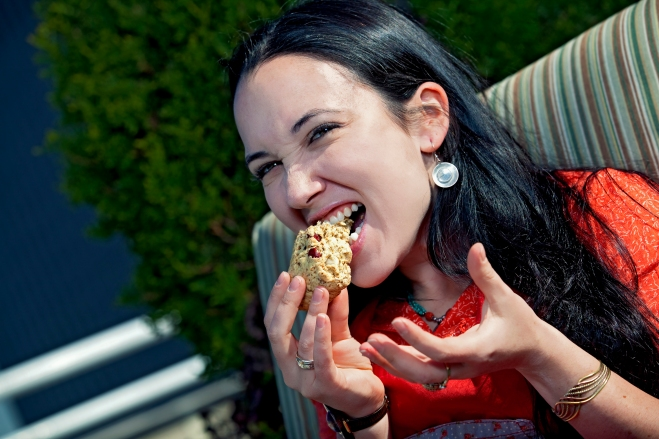 Jacqueline Raposo eating a scone, of course.